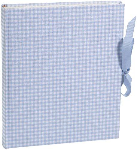 Semikolon Medium Bound Linen Photo Album, Cream Pages, Blue Gingham (03139) (Ribbon Album Bound)