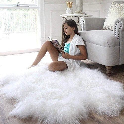 "Genuine white Tibetan Mongolian Sheepskin Fur Hide pelt throw rug plate 35 x 67"" Premium Quality"