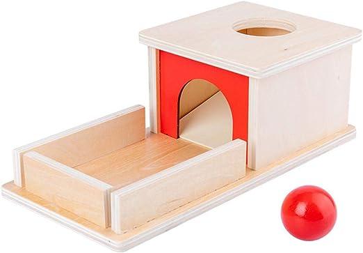 Caja de permanencia de objetos Montessori con bandeja y bola, caja de objetos de permanencia de madera Caja de objetivo de permanencia Montessori Juguetes educativos para niños pequeños y bebés: Amazon.es: Hogar