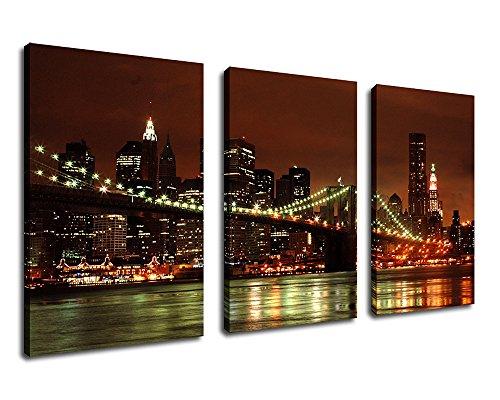 Nyc Art (Wall Art Brooklyn Bridge Canvas Artwork New York City Skyline Pictures Canvas Art - Large 20