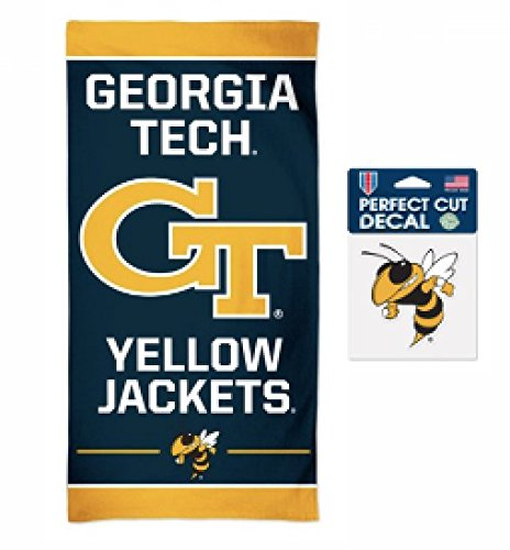 WinCraft NCAA Georgia Tech Yellowjackets 30 x 60 inch Spectra Towel and 4 x 4 inch Perfect Cut Decal SET (Yellow Jackets Beach Towel)