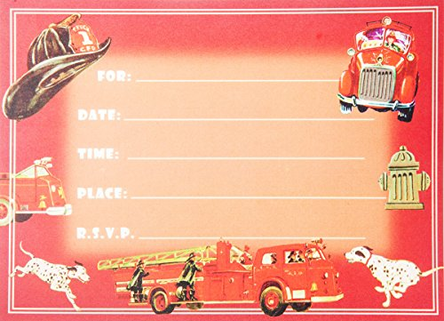 (Dolce Mia Firefighter Birthday Party Invitations Party Pack - 8 cards)
