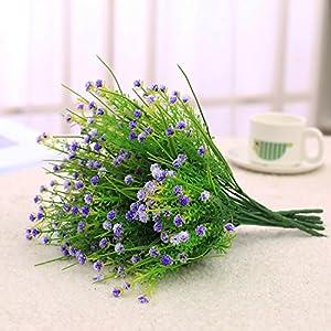 JAKY Global Artificial Flowers Babysbreath Fake Water Plants Bouquet 6 Bundle Fake Plants Wedding Bridle Bouquet Outdoor Home Office Christmas Decor (Purple) 2