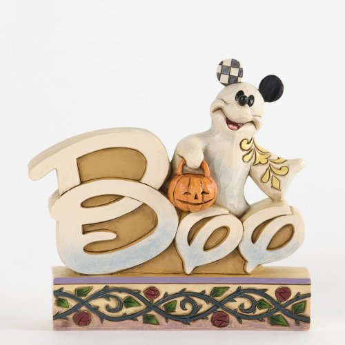 Disney Jim Shore Mickey Mouse Boo Ghost Word Plaque -