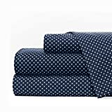 Egyptian Luxury 1600 Series Hotel Collection Pindot Pattern Bed Sheet Set - Deep Pockets, Wrinkle and Fade Resistant, Hypoallergenic Sheet and Pillowcase Set - King - Navy/White