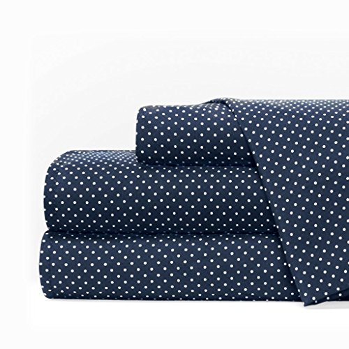 Egyptian Luxury 1600 Series Hotel Collection Pindot Pattern Bed Sheet Set - Deep Pockets, Wrinkle and Fade Resistant, Hypoallergenic Sheet and Pillowcase Set - King - Navy/White from Italian Luxury