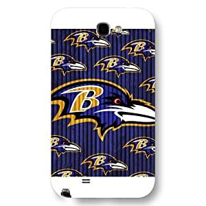 Customized NFL Series For SamSung Note 2 Case Cover NFL Team Baltimore Ravens Logo For SamSung Note 2 Case Cover Only Fit For SamSung Note 2 Case Cover (White Frosted Shell)