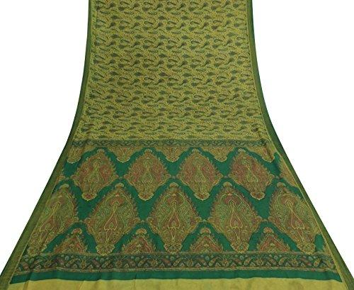 Olive Green Silk Sari - 6