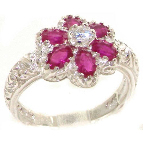 Solid 925 Sterling Silver Womens Ruby & Diamond Band Ring - Size 11.75 - Sizes 4 to 12 Available