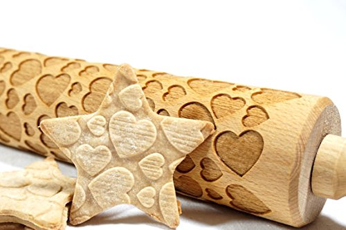 STODOLA Cute Hearts pattern - Engraved rolling pin for Embossed cookies 16.9-inch
