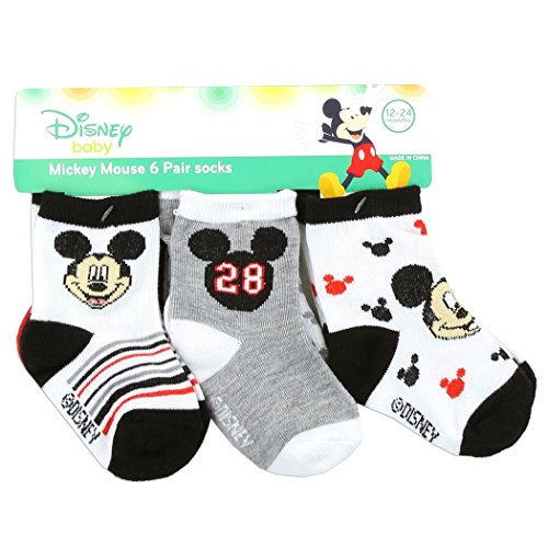 Disney Characters To Dress Up As (Disney Mickey Mouse Anti-Slip Cozy Baby Socks, Cartoon Newborn Friend for boys and girls, Unisex Socks for Toddlers, 6 Pack, 0-6M)