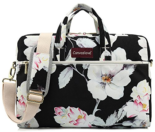 Canvaslove Lotus Pattern 15 inch Waterproof Laptop Shoulder Messenger Bag Case with Rebound Bubble Protection for 14 inch-15.6 inch Laptop]()