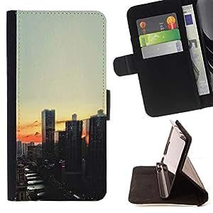 VIEW EVENING SUNSET SKYSCRAPER CITY/ Personalizada del estilo del dise???¡Ào de la PU Caso de encargo del cuero del tir????n del soporte d - Cao - For Samsung Galaxy Core Prime