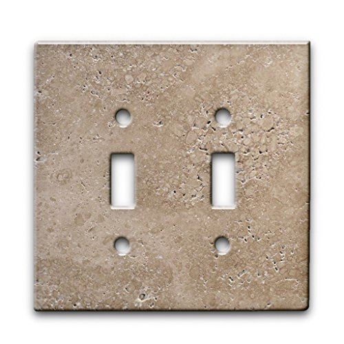 Travertine Switchplates - Noce Walnut Travertine - Decor Double Switch Plate Cover Metal