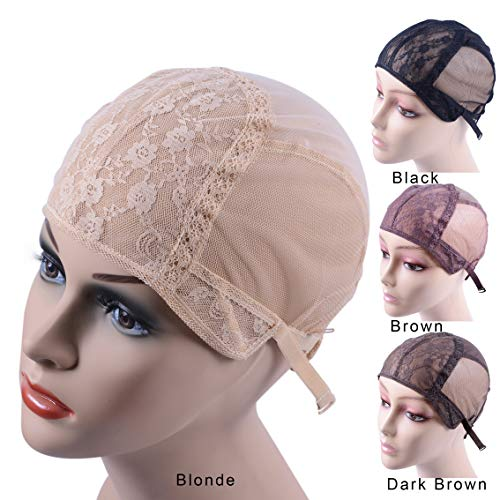Swiss Lace Wig Cap for Making Wigs With Adjustable Strap on the Back Glueless Double Lace Wig Caps Hairnets(Blonde L56cm)