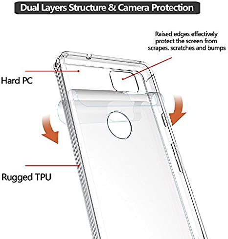 Gzerma for Google Pixel 2 XL Case Armor with Clear Skin Hard Crystal Shell and Pixel 2 XL Screen Protector Shock Absorption Anti-Scratch Full Coverage Protection for Google Pixel2 XL Clear