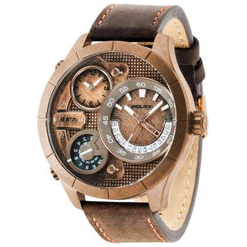 Police Bushmaster watch R1451254003 Men's Brown Leather Multifunction