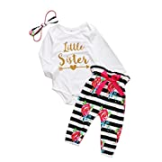 Baby Girls Little Sister Bodysuit Tops Floral Pants Bowknot Headband Outfits Set (0-6 Months, Style 5)