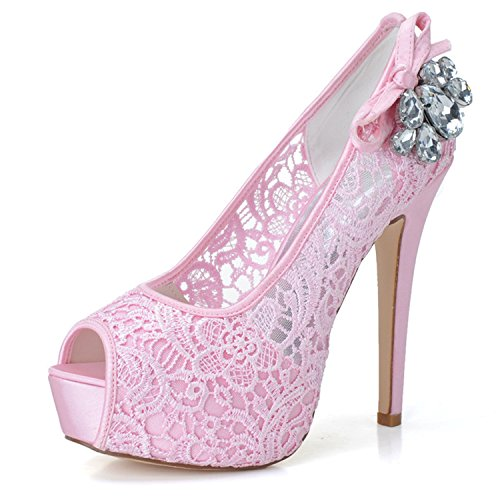 Clearbridal Women's Lace Wedding Bridal Shoes Open Peep Toe Stiletto Heel with Rhinestone Crystal for Evening Porm ZXF3128-19 Pink