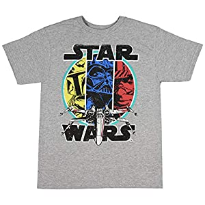 Star Wars Boys' Shirt Darth Vader Boba Fett Luke Skywalker And X-Wing Distressed Retro Vintage Tee T-Shirt