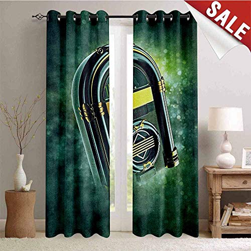 Jukebox, Room Darkening Wide Curtains, Abstract Grunge Antique Radio Music Box on Blurry Backdrop Print, Waterproof Window Curtain, W108 x L96 Inch Forest Green Yellow and White