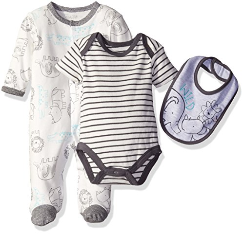 Rene Rofe Baby 3 Piece Take Me Home Coverall Bodysuit and Bib Set, King of The Jungle Safari Gray 3-6 Months