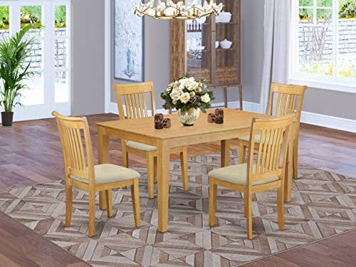 East West Furniture CAPO5-OAK-C Dining Room Table Set 5 Piece