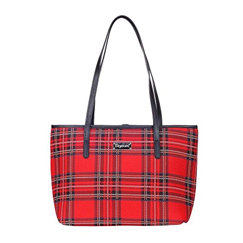 Red Royal Stewart Tartan Shoulder Tote Bag by Signare/Womens Evening Lightweight Side Scottish Plaid/COLL-RSTT