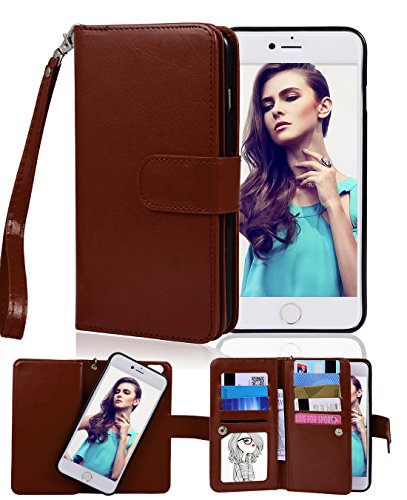 Premium Leather Cell Phone Case - iPhone 6 Case, Crosspace iphone 6s Flip Wallet Case Premium PU Leather 2-in-1 Protective Magnetic Shell with Credit Card Holder/Slots and Wrist Lanyard for Apple Iphone 6/6s 4.7