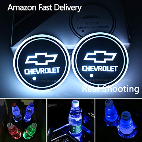2pcs LED Car Cup Holder Lights for Chevrolet, 7 Colors Changing USB Charging Mat Luminescent Cup Pad, LED Interior Atmosphere Lamp