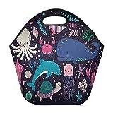 InterestPrint Neoprene Lunch Bag Underwater Animals Insulated Lunchbox Handbag