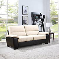 Divano Roma Classic Soft Microfiber and Bonded Leather Living Room Furniture (Sofa, Beige)