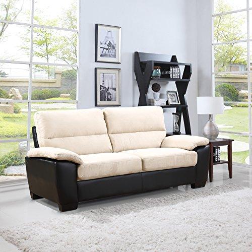 Microfiber Classic Sofa Couch (Madison Home Divano Roma Classic Soft Microfiber and Bonded Leather Living Room Furniture (Sofa, Beige))