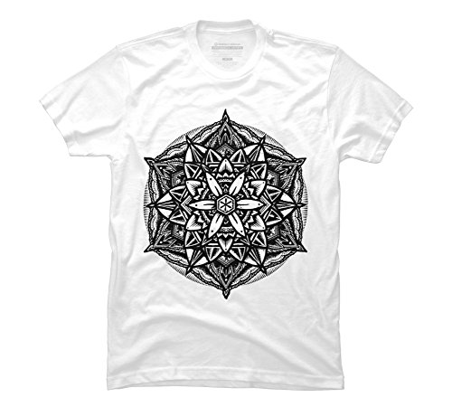 Stippled Star (Design By Humans Sacred Geometry Flower of Life Mandala Star Men's Large White Graphic T Shirt)