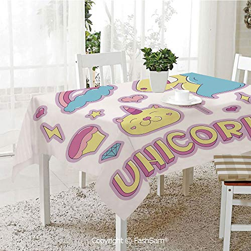 AmaUncle 3D Dinner Print Tablecloths Collection Fantastic Icons Magic Horse Kitten Cupcake Rainbow Decorative Kitchen Rectangular Table Cover (W60 xL104) ()