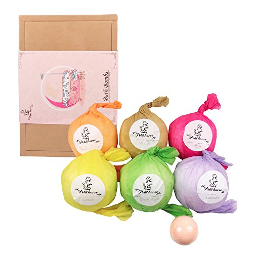 Petit Horse Bath Bombs Gift Set Pack of 6 Large 5.3 oz Romatic Fizzy Bombs for Women Men, Moisturizing with Organic & Natural Essential Oils
