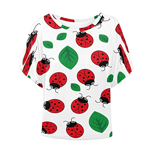 INTERESTPRINT Women Short Sleeve Round Neck T-Shirt Casual Blouse Ladybug with Leaves XXXXL -