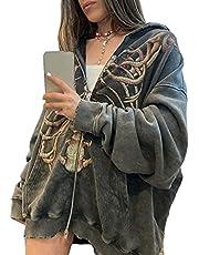 Women Man Goth Hoodie Sweatshirts Y2k Aesthetic Zip Up Jacket 90s Long Sleeve Graphic Coat Couple Top Streetwear