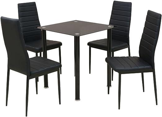 Lingjiushopping Juego 5 Piezas Mesa y sillas de Comedor Negro Mesa ...