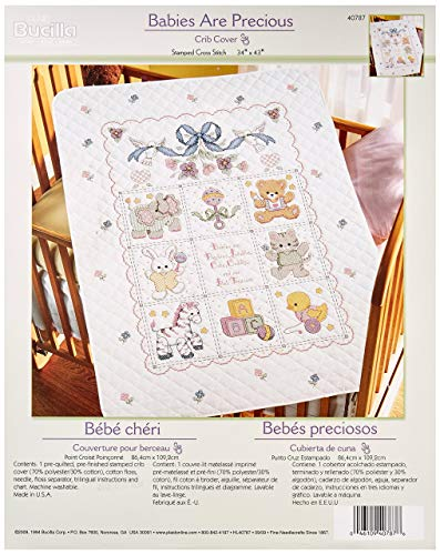 Crib Cover Stamped Kit - Bucilla Stamped Cross Stitch Crib Cover Kit, 34 by 43-Inch, 40787 Babies are Precious