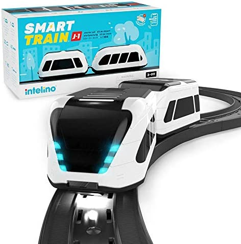 intelino J-1 Smart Train Starter Set – Works Screen-Free and App-Connected – Robot Toy Train That Teaches Coding Through Play – Wooden Train Set Compatible – Ages 3+