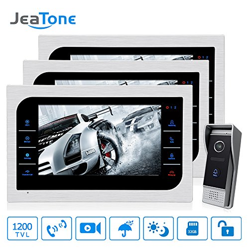 Jeatone 10 inch TFT LCD Wired Video Door Phone with 3 Monitor Video Doorbell System with HD 2.8mm Wide Angle Camera 1200TVL Home Apartment Entry Kit 3V1 ()