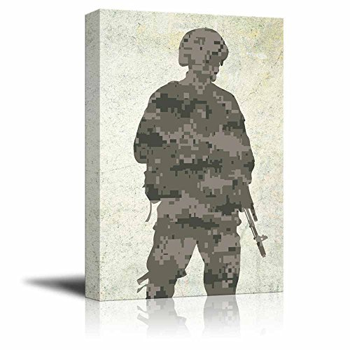 wall26 - Military Family Canvas Wall Art - Double Exposure of a Soldier with Gun and Camouflage - Gallery Wrap Modern Home Decor | Ready to Hang - 12x18 inches (Camouflage Home Decor)