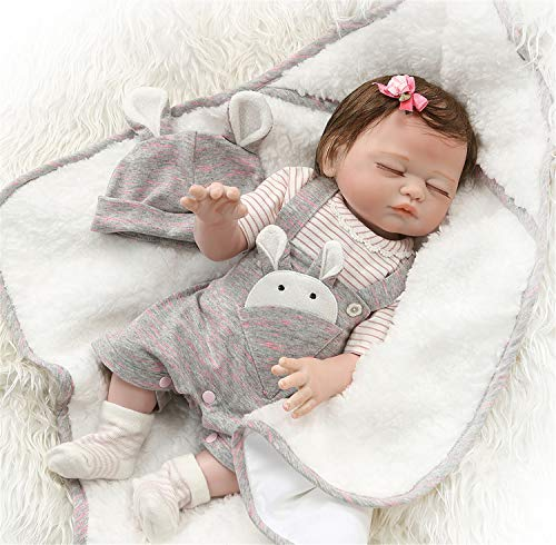 Zero Pam Reborn Baby Dolls Bath 20 inch Realistic Reborn Newborn Baby Sleeping Girl Dolls Full Body Silicone Vinyl Toys with Pacifier (Silicone Baby Dolls Full Body)