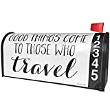 NEONBLOND Good Things Come to Those Who Travel Funny Saying Magnetic Mailbox Cover Custom Numbers