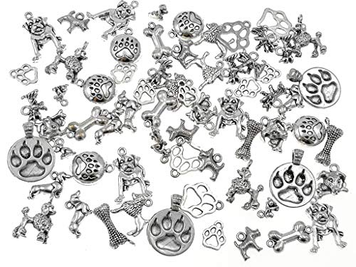 100 Grams Pet Charm,Assorted Dog Bone Paw Print Footprint Charm Pendant for DIY Necklace Bracelet Jewelry Making Findings(Antique Silver (Paw Print Dog Bones)