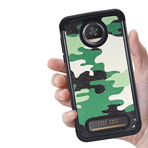 Motorola Moto Z2 Force, [Shock Absorption] Drop Protection Hybrid Armor Defender Protective Case Cover for Motorola Moto Z2 Force Edition - Camo Green