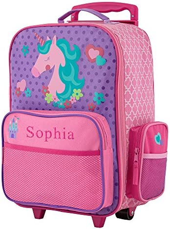 GiftsForYouNow 2-Wheel Personalized Unicorn Rolling Luggage Bag, 14.5 x 18