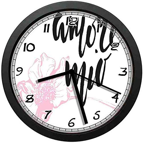 - BCWAYGOD Amore Art Wall Clock,Amore Mio Cursive Handwriting Form with Pastel Outline Flower-Non-Ticking Wall Clock Silent Home Decor Battery Operated Clock 10 Inch