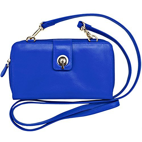 ather Smartphone Crossbody Wallet with RFID Blocking Lining (Cobalt) ()
